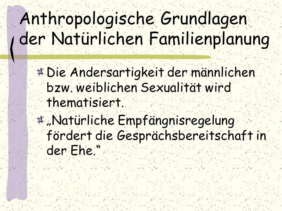 """Anthropologische Grundlagen der Natürlichen Familienplanung Die Andersartigkeit der männlichen bzw. weiblichen Sexualität wird thematisiert. """"Natürlic"""