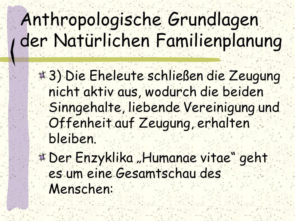 Anthropologische Grundlagen der Natürlichen Familienplanung 3) Die Eheleute schließen die Zeugung nicht aktiv aus, wodurch die beiden Sinngehalte, lie