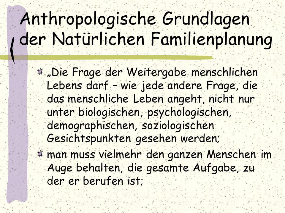 """Anthropologische Grundlagen der Natürlichen Familienplanung """"Die Frage der Weitergabe menschlichen Lebens darf – wie jede andere Frage, die das mensch"""
