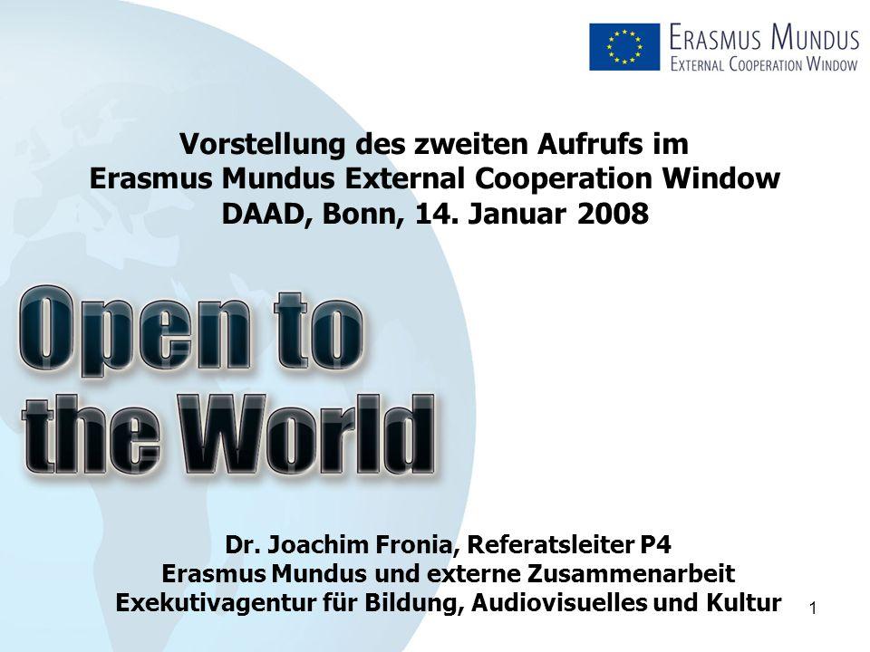 2 Inhalt  Die Exekutivagentur für Bildung, Audiovisuelles und Kultur (EACEA)  Das Erasmus Mundus Fenster für externe Zusammenarbeit (EM ECW)  Aufforderung zur Einreichung von Vorschlägen für die Durchführung des Erasmus Mundus ECW Fensters im akademischen Jahr 2008/09