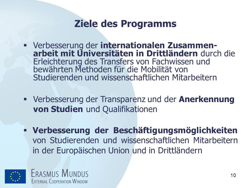 10 Ziele des Programms  Verbesserung der Beschäftigungsmöglichkeiten von Studierenden und wissenschaftlichen Mitarbeitern in der Europäischen Union u