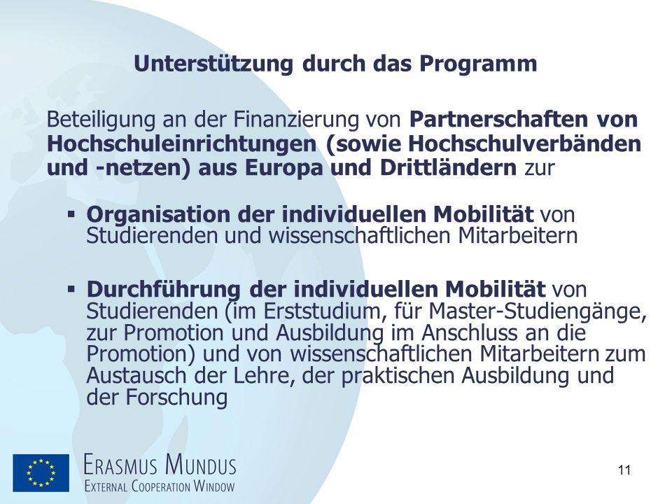 11 Unterstützung durch das Programm Beteiligung an der Finanzierung von Partnerschaften von Hochschuleinrichtungen (sowie Hochschulverbänden und -netz