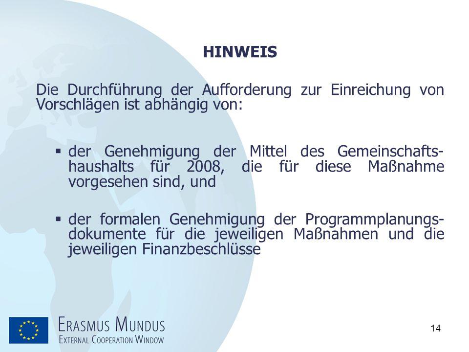 14 HINWEIS Die Durchführung der Aufforderung zur Einreichung von Vorschlägen ist abhängig von:  der Genehmigung der Mittel des Gemeinschafts- haushal