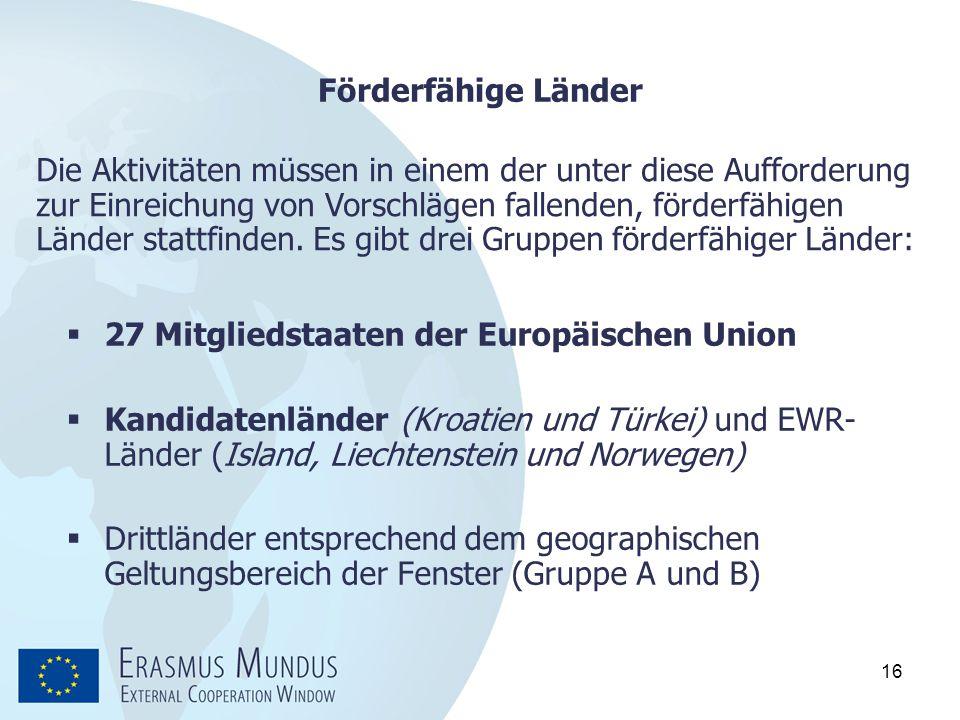 16 Förderfähige Länder  27 Mitgliedstaaten der Europäischen Union  Kandidatenländer (Kroatien und Türkei) und EWR- Länder (Island, Liechtenstein und