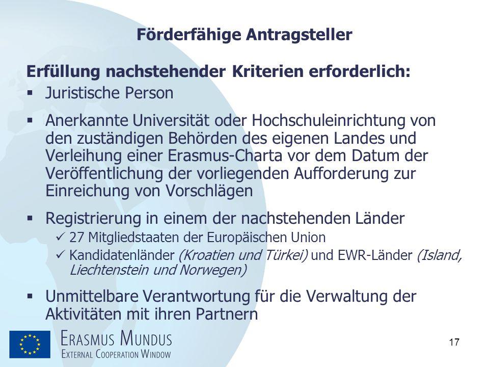 17 Förderfähige Antragsteller Erfüllung nachstehender Kriterien erforderlich:  Juristische Person  Anerkannte Universität oder Hochschuleinrichtung