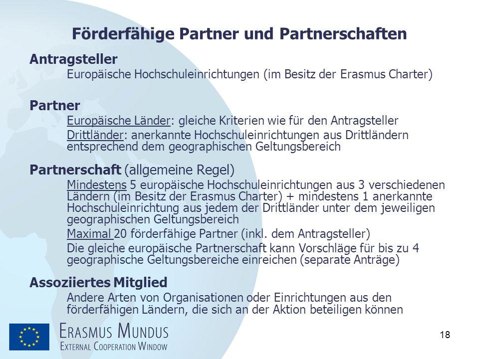 18 Förderfähige Partner und Partnerschaften Antragsteller Europäische Hochschuleinrichtungen (im Besitz der Erasmus Charter) Partner Europäische Lände
