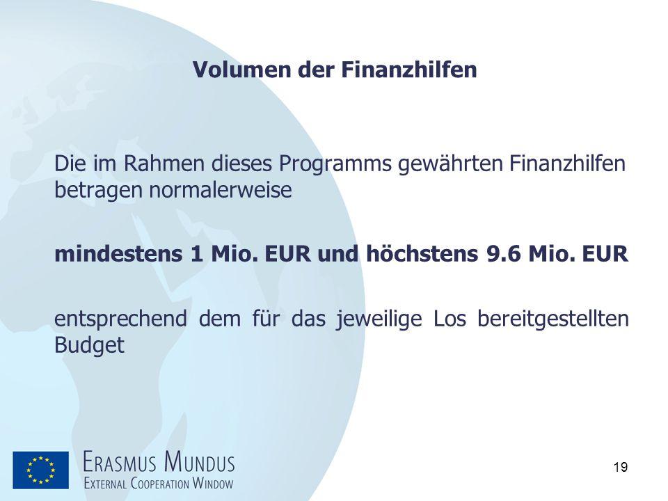 19 Volumen der Finanzhilfen Die im Rahmen dieses Programms gewährten Finanzhilfen betragen normalerweise mindestens 1 Mio. EUR und höchstens 9.6 Mio.