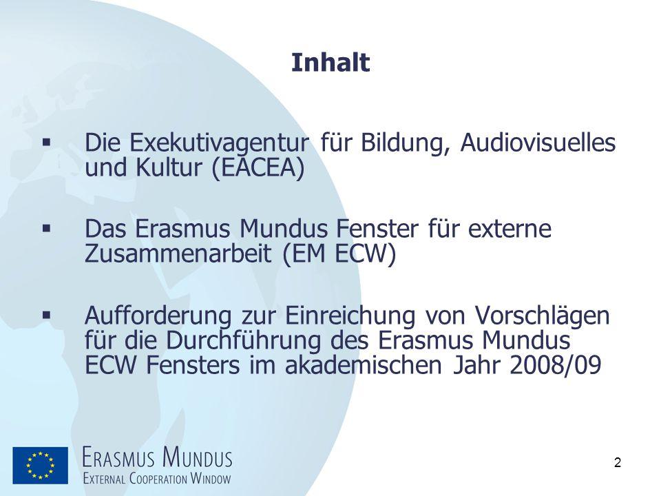 2 Inhalt  Die Exekutivagentur für Bildung, Audiovisuelles und Kultur (EACEA)  Das Erasmus Mundus Fenster für externe Zusammenarbeit (EM ECW)  Auffo