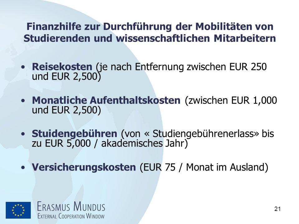 21 Finanzhilfe zur Durchführung der Mobilitäten von Studierenden und wissenschaftlichen Mitarbeitern Reisekosten (je nach Entfernung zwischen EUR 250