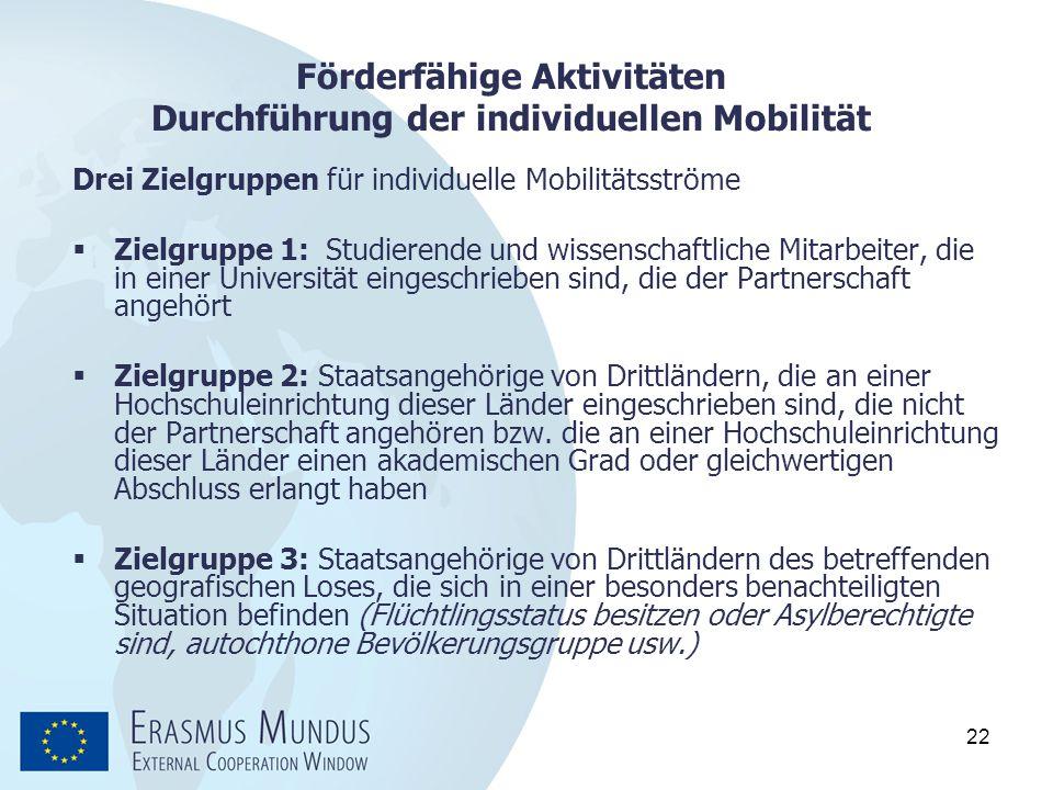 22 Förderfähige Aktivitäten Durchführung der individuellen Mobilität Drei Zielgruppen für individuelle Mobilitätsströme  Zielgruppe 1: Studierende un