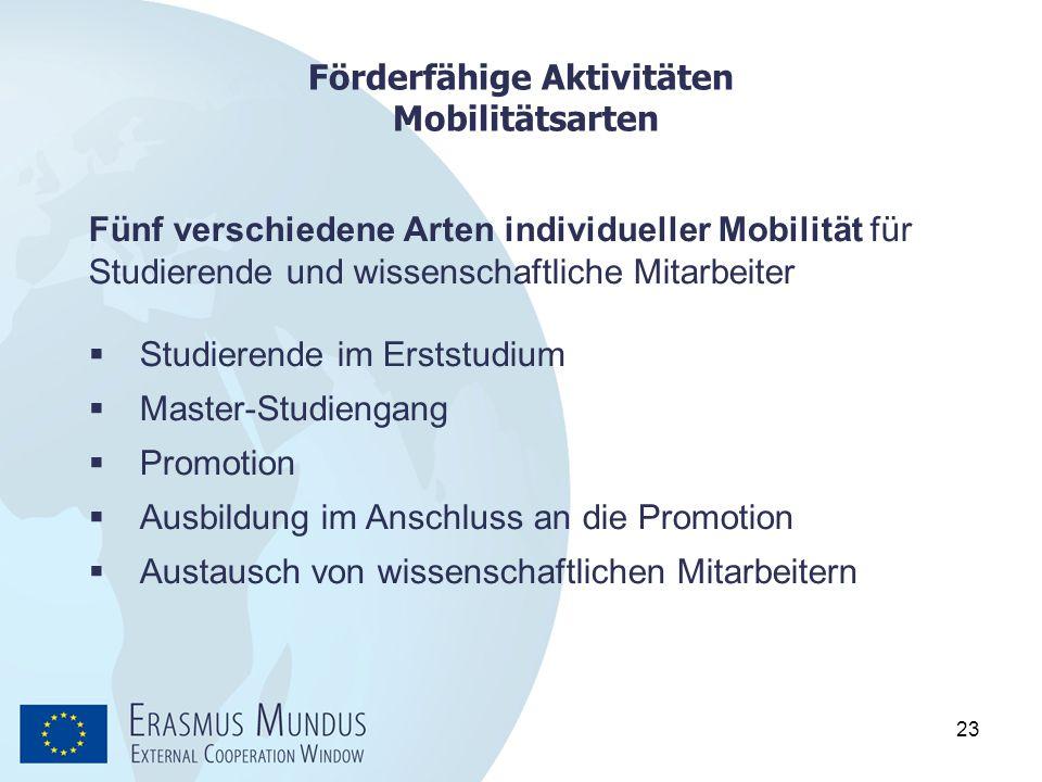 23 Förderfähige Aktivitäten Mobilitätsarten Fünf verschiedene Arten individueller Mobilität für Studierende und wissenschaftliche Mitarbeiter  Studie