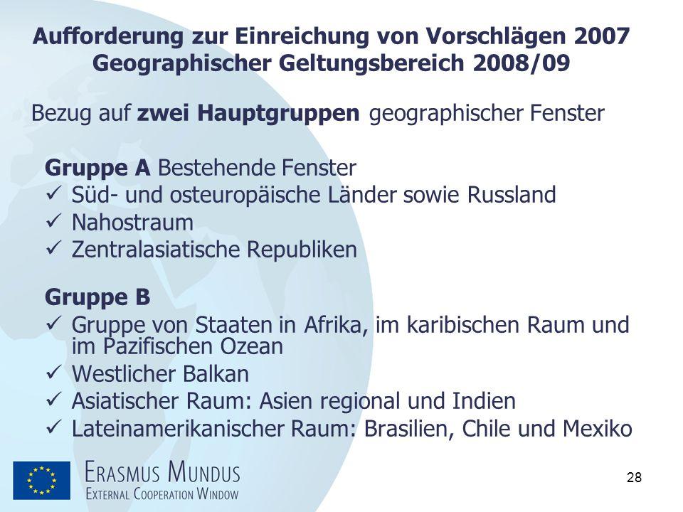 28 Aufforderung zur Einreichung von Vorschlägen 2007 Geographischer Geltungsbereich 2008/09 Bezug auf zwei Hauptgruppen geographischer Fenster Gruppe