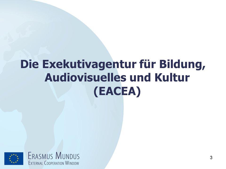 4  Trennung von Programm-Management vom politischen Entscheidungsbereich  Körperschaft des Gemeinschaftsrechts eingesetzt von der Europäischen Kommission  Verwaltungsaktivitäten der Exekutivagentur im Auftrag der Europäischen Kommission Die Exekutivagentur für Bildung, Audiovisuelles und Kultur (EACEA)