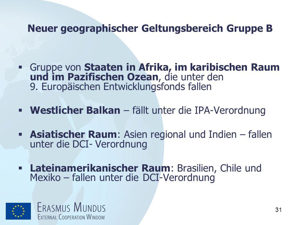 31 Neuer geographischer Geltungsbereich Gruppe B  Gruppe von Staaten in Afrika, im karibischen Raum und im Pazifischen Ozean, die unter den 9. Europä