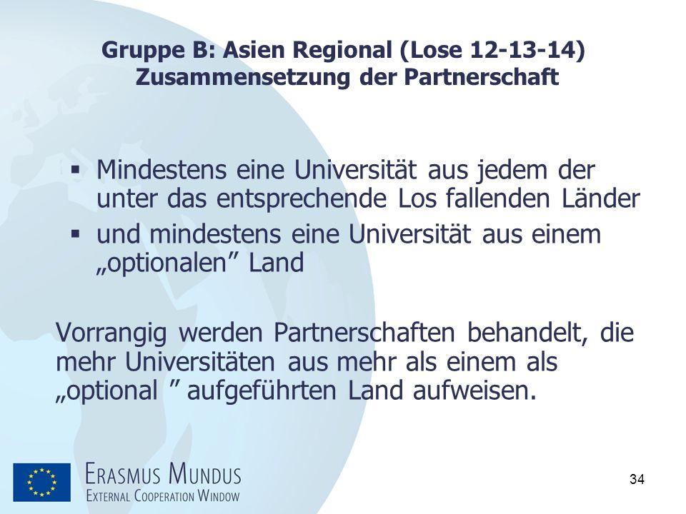34 Gruppe B: Asien Regional (Lose 12-13-14) Zusammensetzung der Partnerschaft  Mindestens eine Universität aus jedem der unter das entsprechende Los