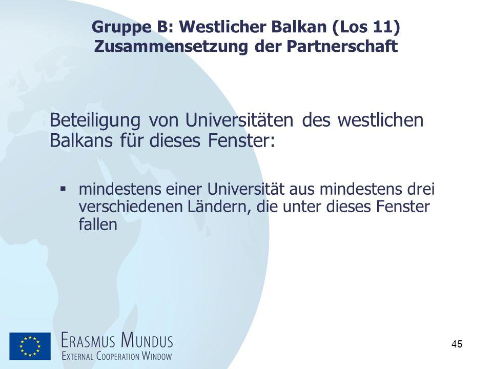 45 Gruppe B: Westlicher Balkan (Los 11) Zusammensetzung der Partnerschaft Beteiligung von Universitäten des westlichen Balkans für dieses Fenster:  m