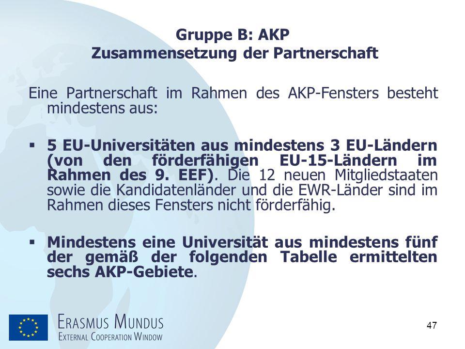 47 Gruppe B: AKP Zusammensetzung der Partnerschaft Eine Partnerschaft im Rahmen des AKP-Fensters besteht mindestens aus:  5 EU ‑ Universitäten aus mi