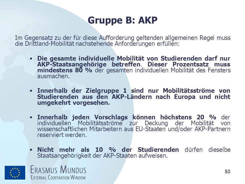 50 Gruppe B: AKP Im Gegensatz zu der für diese Aufforderung geltenden allgemeinen Regel muss die Drittland-Mobilität nachstehende Anforderungen erfüll