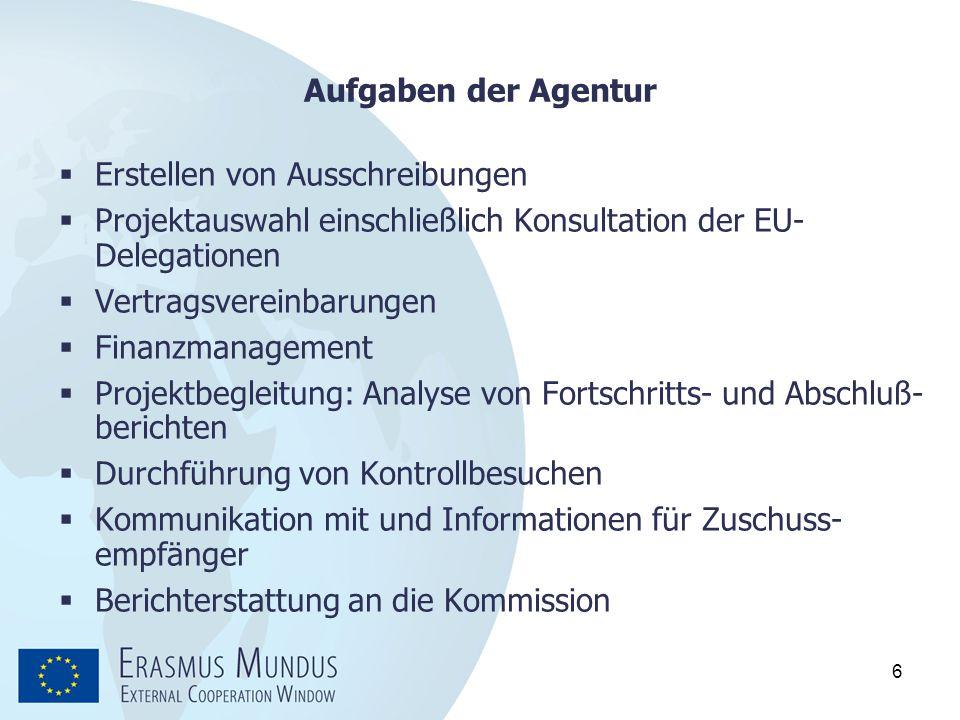 6 Aufgaben der Agentur  Erstellen von Ausschreibungen  Projektauswahl einschließlich Konsultation der EU- Delegationen  Vertragsvereinbarungen  Fi