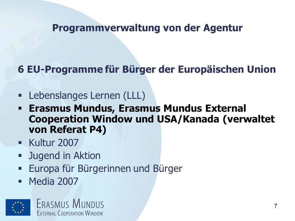 7 Programmverwaltung von der Agentur 6 EU-Programme für Bürger der Europäischen Union  Lebenslanges Lernen (LLL)  Erasmus Mundus, Erasmus Mundus Ext