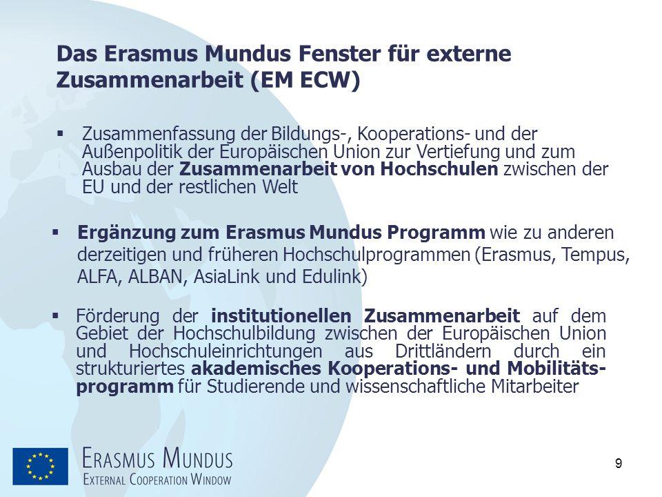 9 Das Erasmus Mundus Fenster für externe Zusammenarbeit (EM ECW)  Förderung der institutionellen Zusammenarbeit auf dem Gebiet der Hochschulbildung z