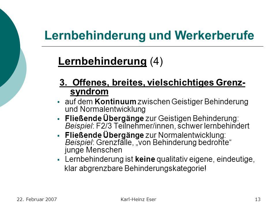 22. Februar 2007Karl-Heinz Eser13 Lernbehinderung und Werkerberufe Lernbehinderung (4) 3. Offenes, breites, vielschichtiges Grenz- syndrom  auf dem K