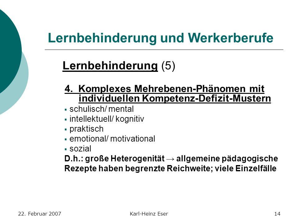 22. Februar 2007Karl-Heinz Eser14 Lernbehinderung und Werkerberufe Lernbehinderung (5) 4. Komplexes Mehrebenen-Phänomen mit individuellen Kompetenz-De