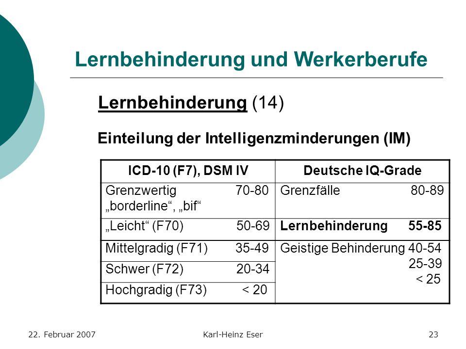 22. Februar 2007Karl-Heinz Eser23 Lernbehinderung und Werkerberufe Lernbehinderung (14) Einteilung der Intelligenzminderungen (IM) ICD-10 (F7), DSM IV