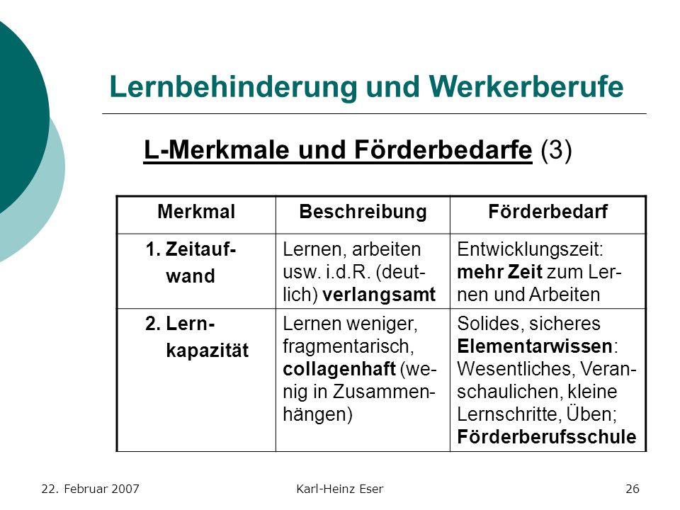 22. Februar 2007Karl-Heinz Eser26 Lernbehinderung und Werkerberufe L-Merkmale und Förderbedarfe (3) MerkmalBeschreibungFörderbedarf 1. Zeitauf- wand L