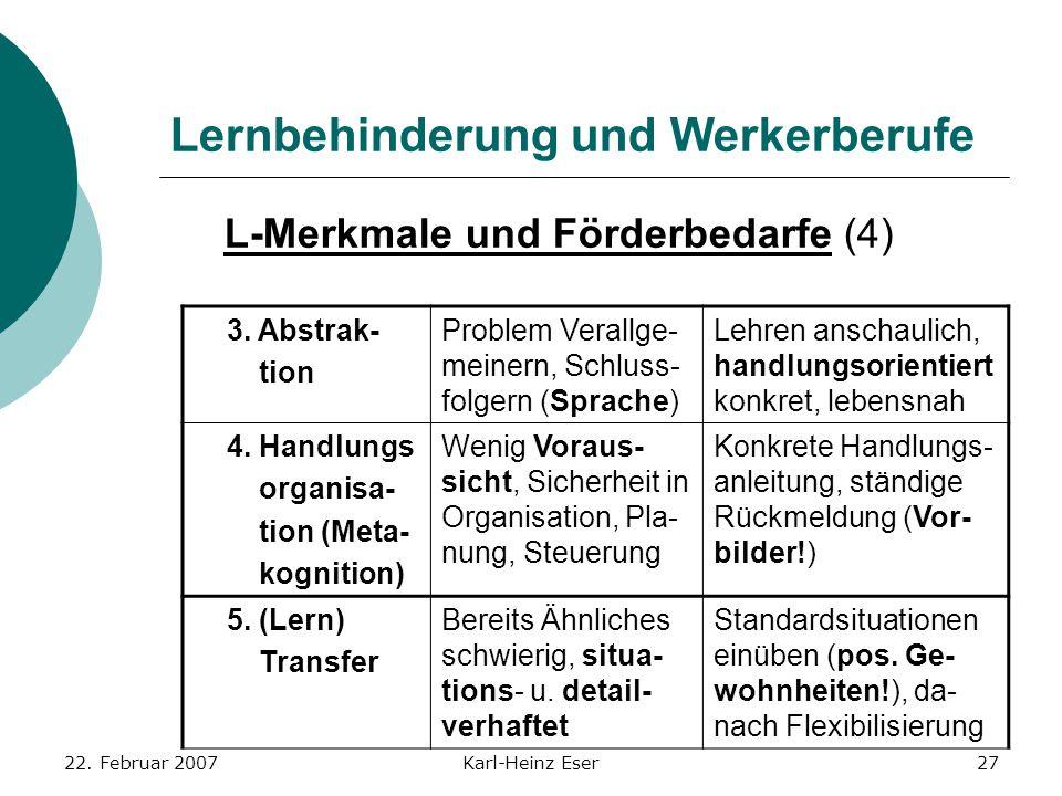 22. Februar 2007Karl-Heinz Eser27 Lernbehinderung und Werkerberufe L-Merkmale und Förderbedarfe (4) 3. Abstrak- tion Problem Verallge- meinern, Schlus