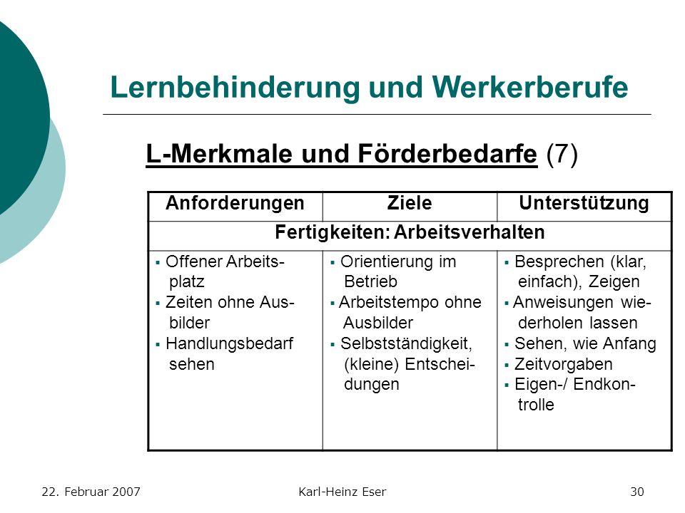 22. Februar 2007Karl-Heinz Eser30 Lernbehinderung und Werkerberufe L-Merkmale und Förderbedarfe (7) AnforderungenZieleUnterstützung Fertigkeiten: Arbe