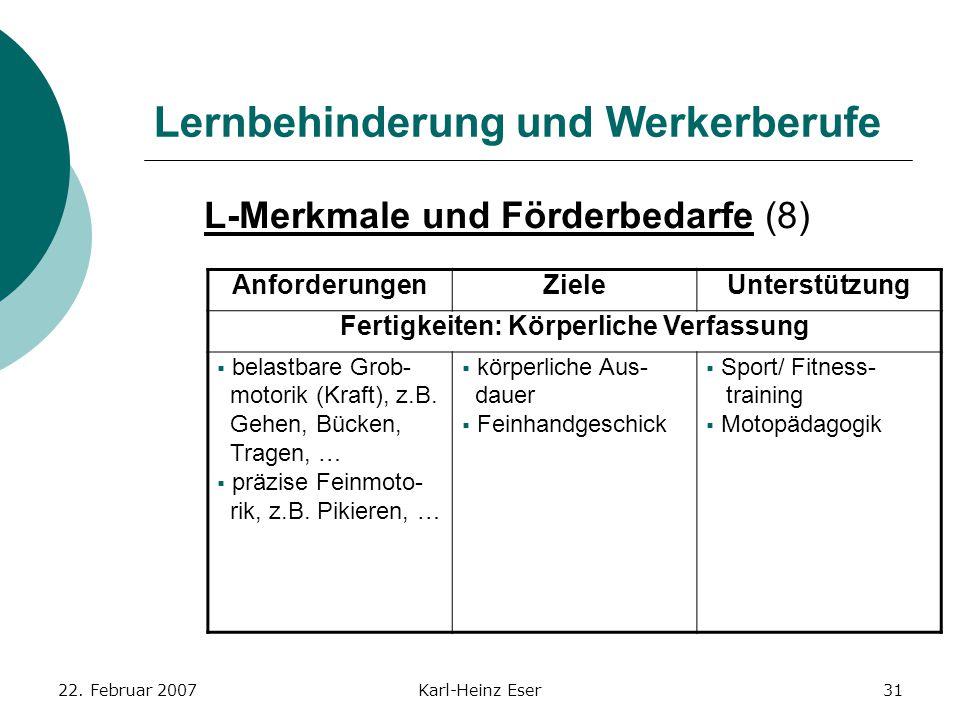 22. Februar 2007Karl-Heinz Eser31 Lernbehinderung und Werkerberufe L-Merkmale und Förderbedarfe (8) AnforderungenZieleUnterstützung Fertigkeiten: Körp