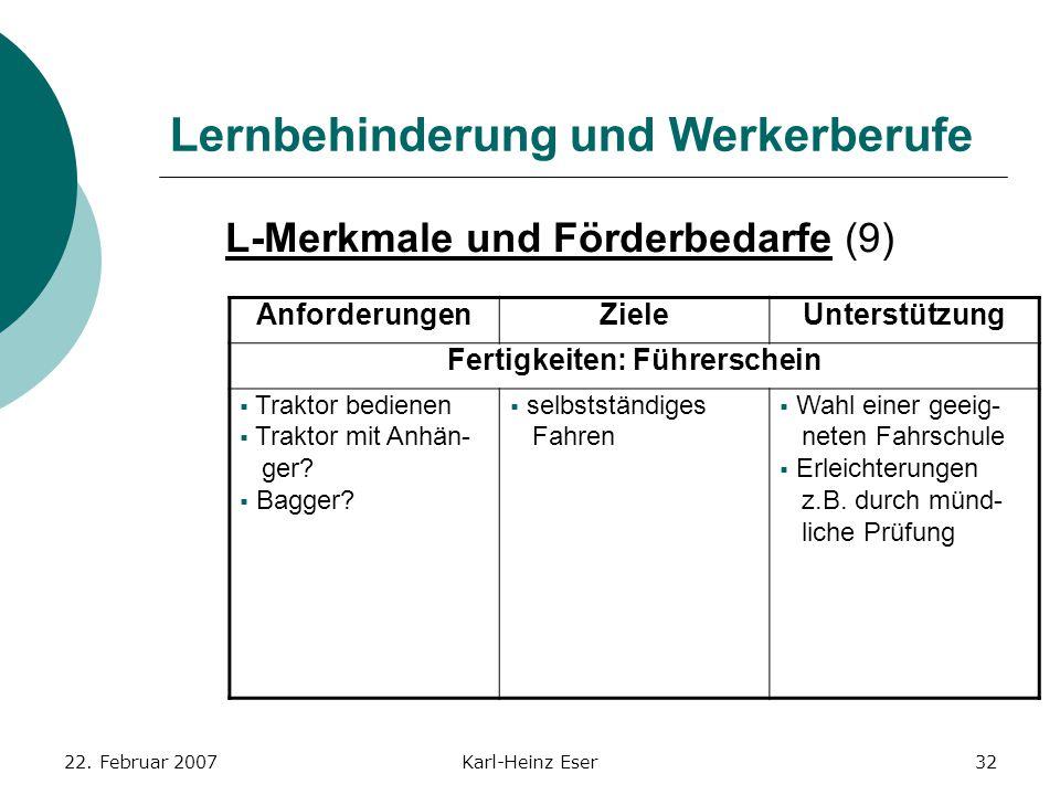22. Februar 2007Karl-Heinz Eser32 Lernbehinderung und Werkerberufe L-Merkmale und Förderbedarfe (9) AnforderungenZieleUnterstützung Fertigkeiten: Führ