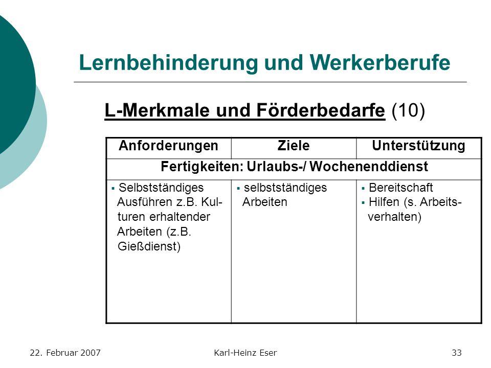 22. Februar 2007Karl-Heinz Eser33 Lernbehinderung und Werkerberufe L-Merkmale und Förderbedarfe (10) AnforderungenZieleUnterstützung Fertigkeiten: Url