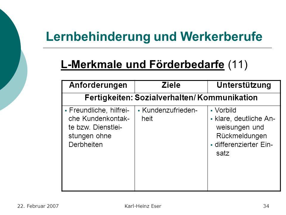 22. Februar 2007Karl-Heinz Eser34 Lernbehinderung und Werkerberufe L-Merkmale und Förderbedarfe (11) AnforderungenZieleUnterstützung Fertigkeiten: Soz
