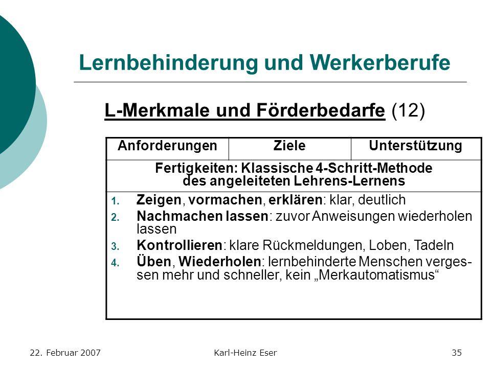 22. Februar 2007Karl-Heinz Eser35 Lernbehinderung und Werkerberufe L-Merkmale und Förderbedarfe (12) AnforderungenZieleUnterstützung Fertigkeiten: Kla