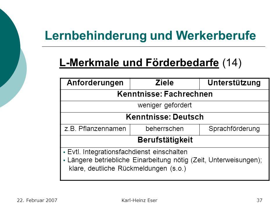 22. Februar 2007Karl-Heinz Eser37 Lernbehinderung und Werkerberufe L-Merkmale und Förderbedarfe (14) AnforderungenZieleUnterstützung Kenntnisse: Fachr