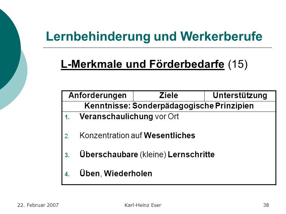 22. Februar 2007Karl-Heinz Eser38 Lernbehinderung und Werkerberufe L-Merkmale und Förderbedarfe (15) AnforderungenZieleUnterstützung Kenntnisse: Sonde
