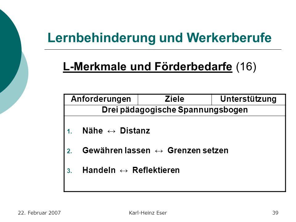 22. Februar 2007Karl-Heinz Eser39 Lernbehinderung und Werkerberufe L-Merkmale und Förderbedarfe (16) AnforderungenZieleUnterstützung Drei pädagogische