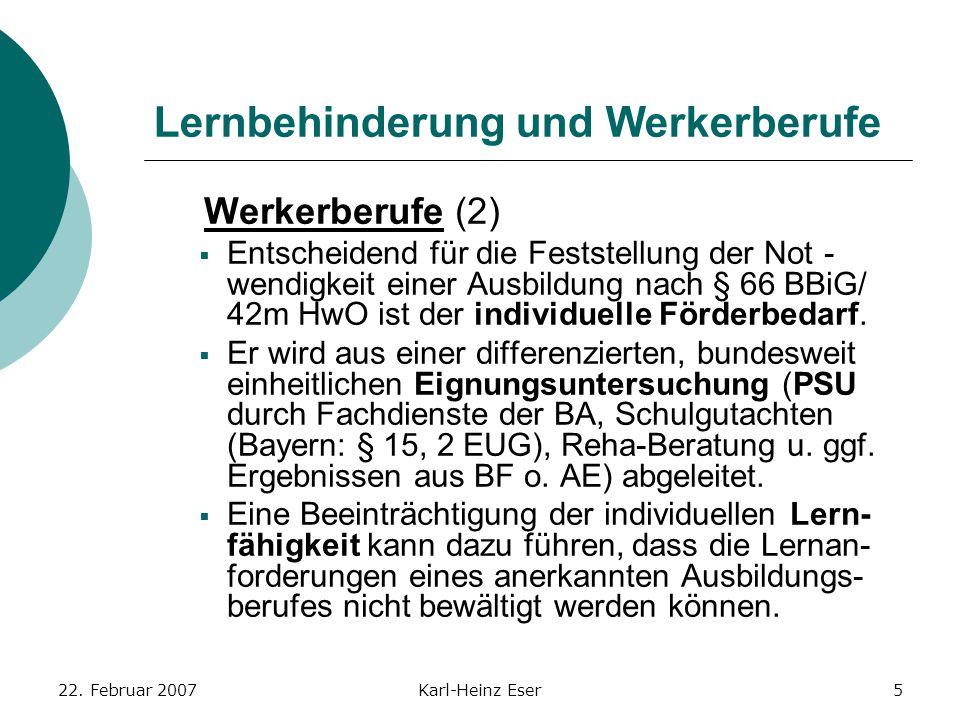 22. Februar 2007Karl-Heinz Eser5 Lernbehinderung und Werkerberufe Werkerberufe (2)  Entscheidend für die Feststellung der Not- wendigkeit einer Ausbi