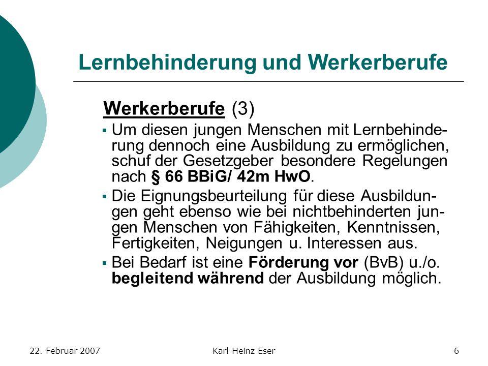 22. Februar 2007Karl-Heinz Eser6 Lernbehinderung und Werkerberufe Werkerberufe (3)  Um diesen jungen Menschen mit Lernbehinde- rung dennoch eine Ausb