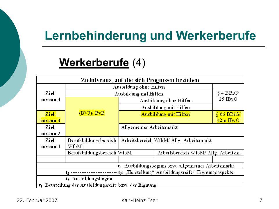 22. Februar 2007Karl-Heinz Eser7 Lernbehinderung und Werkerberufe Werkerberufe (4)