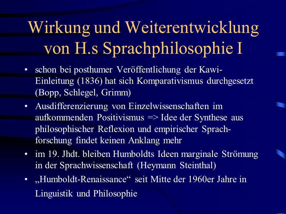 Wirkung und Weiterentwicklung von H.s Sprachphilosophie I schon bei posthumer Veröffentlichung der Kawi- Einleitung (1836) hat sich Komparativismus du