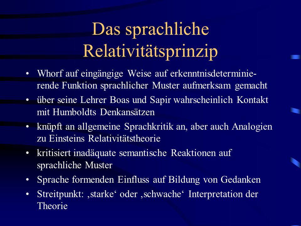Das sprachliche Relativitätsprinzip Whorf auf eingängige Weise auf erkenntnisdeterminie- rende Funktion sprachlicher Muster aufmerksam gemacht über se