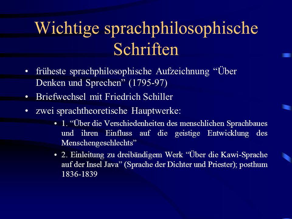"""Wichtige sprachphilosophische Schriften früheste sprachphilosophische Aufzeichnung """"Über Denken und Sprechen"""" (1795-97) Briefwechsel mit Friedrich Sch"""