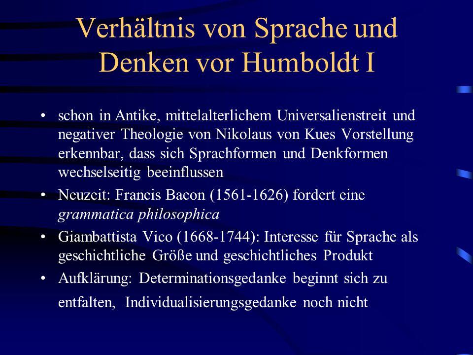 Verhältnis von Sprache und Denken vor Humboldt I schon in Antike, mittelalterlichem Universalienstreit und negativer Theologie von Nikolaus von Kues V