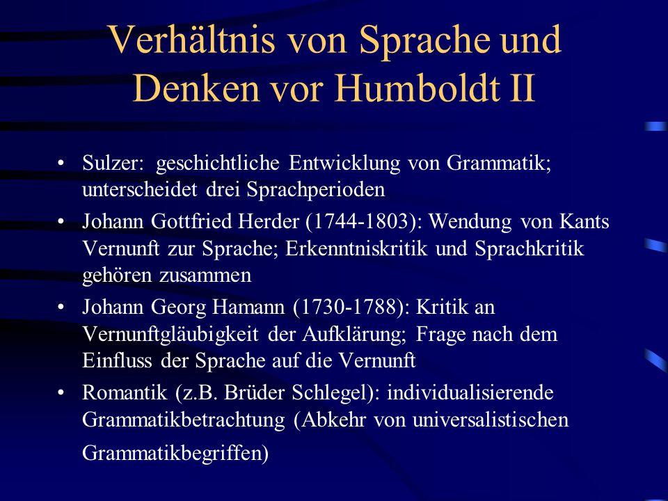 Verhältnis von Sprache und Denken vor Humboldt II Sulzer: geschichtliche Entwicklung von Grammatik; unterscheidet drei Sprachperioden Johann Gottfried
