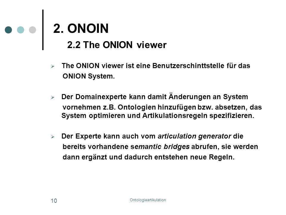 Ontologieartikulation 10 2. ONOIN 2.2 The ONION viewer  The ONION viewer ist eine Benutzerschinttstelle für das ONION System.  Der Domainexperte kan