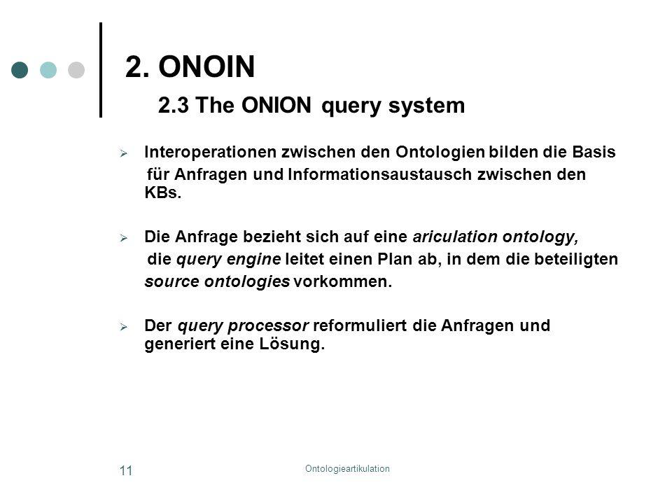 Ontologieartikulation 11 2. ONOIN 2.3 The ONION query system  Interoperationen zwischen den Ontologien bilden die Basis für Anfragen und Informations