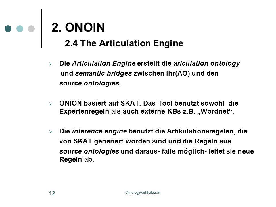 Ontologieartikulation 12 2. ONOIN 2.4 The Articulation Engine  Die Articulation Engine erstellt die ariculation ontology und semantic bridges zwische